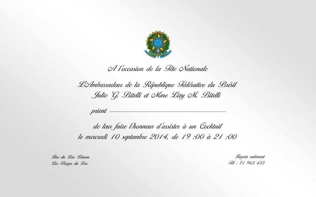 Invitation Ambassade du Brésil fête nationale
