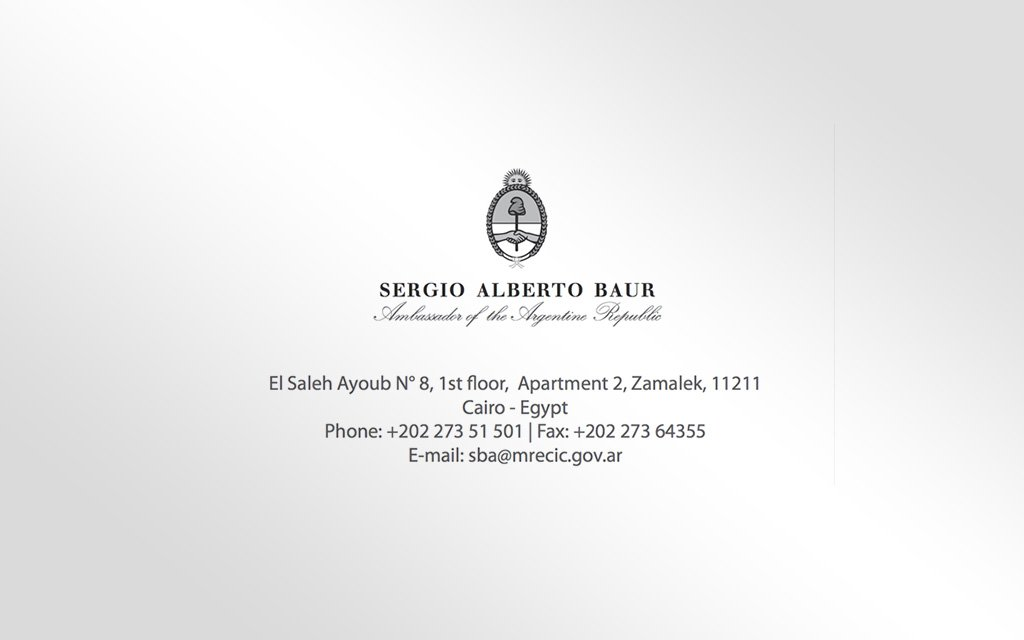 Carte de visite Ambassade d'argentine