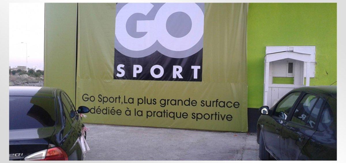 Habillage facade magasin GoSport La Marsa