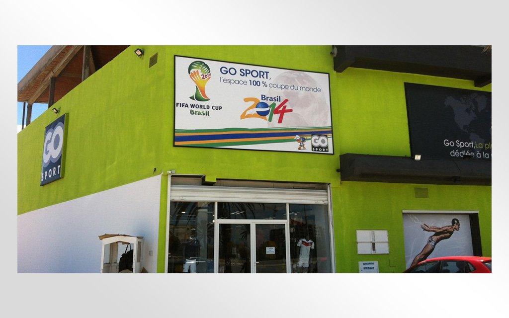 conception et impression enseignes & Structures magasin Go Sport La Marsa : Opération Coupe du monde 2014