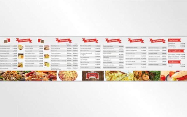Menu suspensif Restaurant Adamo's