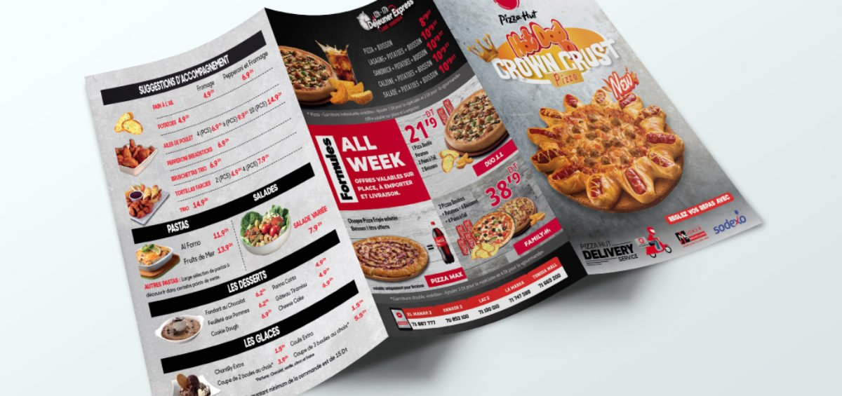 Conception Menu dépliant Pizza Hut