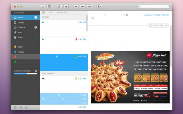 Emailing Pizza Hut campagne Crown crust