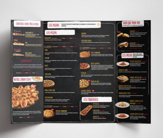 Conception Carte menu Pizza Hut