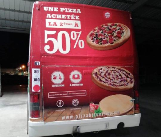 Habillage arrière Bus Pizza Hut Tunisia