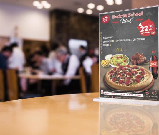 Conception Présentoir A4 Pizza Hut