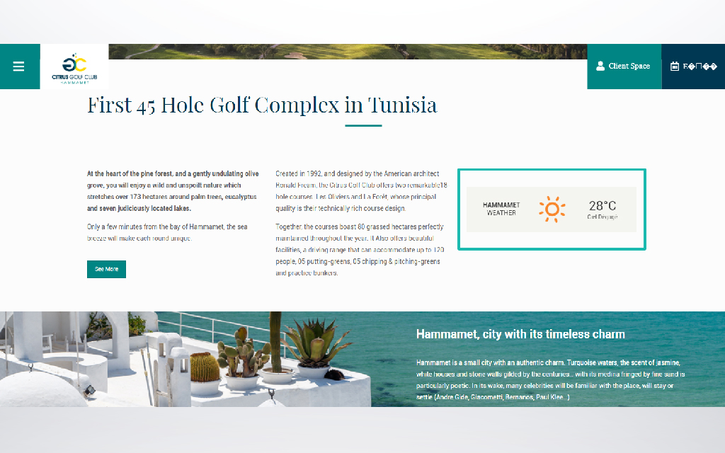 installation version anglaise site web Golf citrus